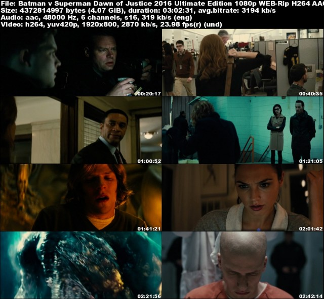 Batman V Superman Dawn Of Justice (2016) Ultimate Edition 1080p WEB-Rip H264 AAC - KiNGDOM