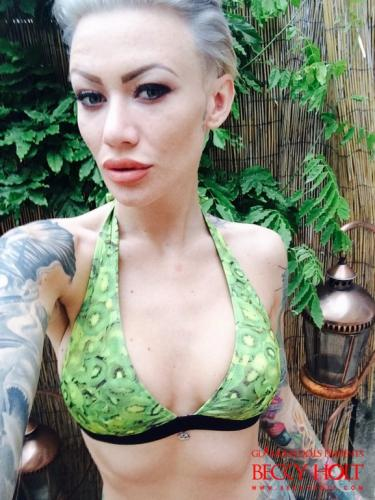 Becky Holt In Her Kiwifruit Bikini In The Garden