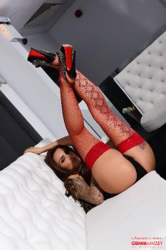 set016 Sexy Red New Lingerie With Gemma Masseys Tight Red Stockings 09.10.15