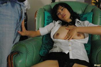 Mio Kanna - Mio Kanna Japanese doll fondles her boobs and hairy pussy